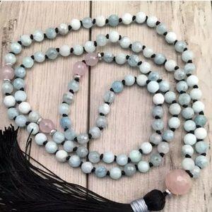 Genuine Aquamarine and Rose Quartz Mala necklace